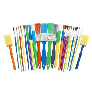 25 Assorted Paint Brush and Applicators in a Cylinder