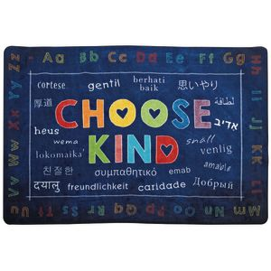 Choose Kind Blue 6' x 9' Rectangle Pixel Perfect Carpet