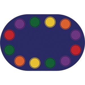 Seating Dots Primary Premium Carpet - 6' x 9' Oval