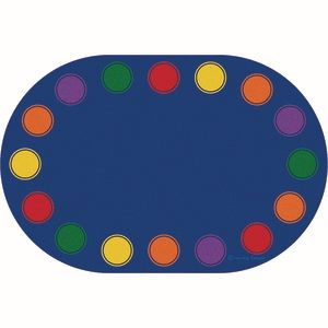 Seating Dots Primary Premium Carpet - 8' x 12' Oval