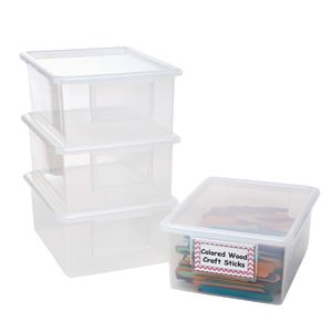 Set of 4 Easy-Label Teaching Totes with Lids - Clear