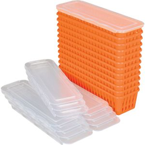 Pencil And Marker Baskets With Lids - 12 Pack - Orange