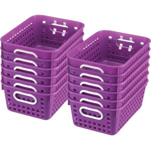 Book Baskets - Medium Rectangle - Set of 12 - Purple