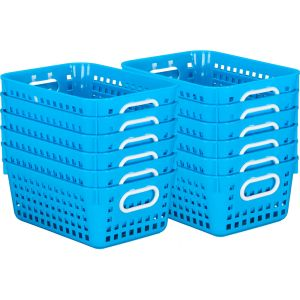Book Baskets - Medium Rectangle - Set of 12 - Neon Blue