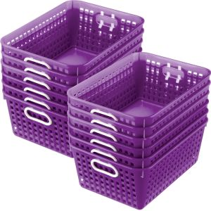 Book Baskets - Large Rectangle - Set of 12 - Purple