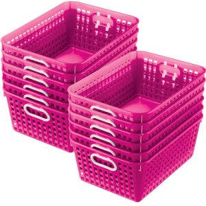 Book Baskets - Large Rectangle - Set of 12 - Pink