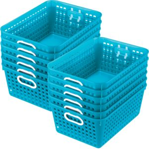 Book Baskets - Large Rectangle - Set of 12 - Neon Blue