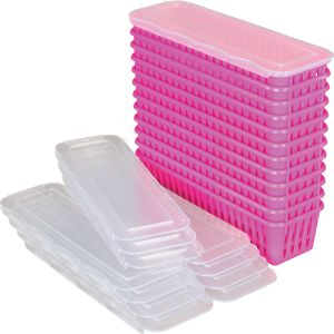 Pencil And Marker Baskets With Lids - 12 Pack - Neon Pink