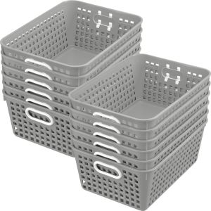 Book Baskets - Large Rectangle - Set of 12 - Pebble