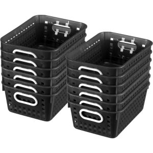 Book Baskets - Medium Rectangle - Set of 12 - Black