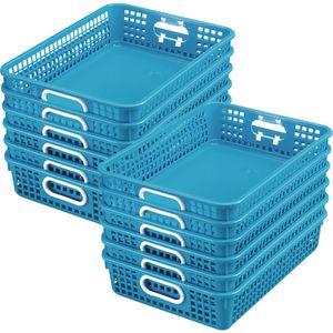Classroom Paper Baskets  - Set of 12 - Neon Blue