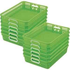 Classroom Paper Baskets - Set of 12 - Neon Green