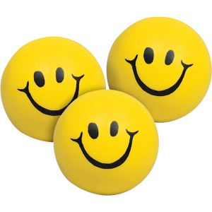 Squeeze Smiley Face Stress Balls - Set of 12