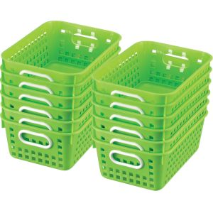 Book Baskets - Medium Rectangle - Set of 12 - Neon Green