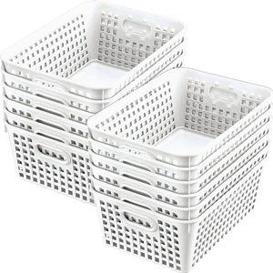 Large Rectangulare Book Basket - Set of 12 -White