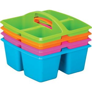 4-Compartment Caddies -Set of 4, Neon Colors, Equal-Sized Compartments