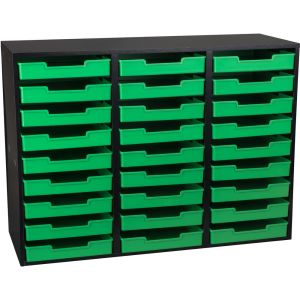 Black 27-Slot Mail Center With Green  Trays