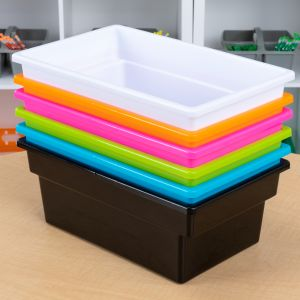 All Purpose Bins for Classroom or Home Use - Sturdy Plastic Book Bins in Fun Neon Colors 6 Colors Set of 6 Neon Pop