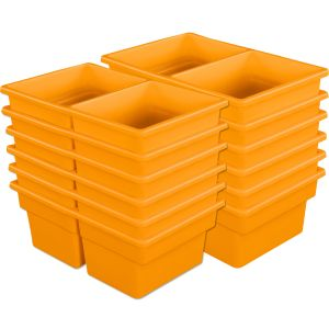 Two-Compartment All-Purpose Bins Set Of 12 Single Color - Orange
