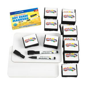 """9"""" X 6"""" Mini-Magnetic Dry Erase Boards - Set Of 12 Boards, 12 Markers & 12 Erasers"""