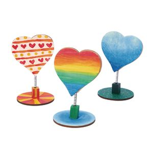 Colorations Wooden Bobble Heart Note Holders - Set of 3