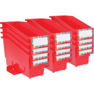 Durable Book and Binder Holder with Stabilizer Wings and Label Holder - Red