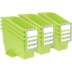 Durable Book and Binder Holder with Stabilizer Wing and Label Holder - Neon Green