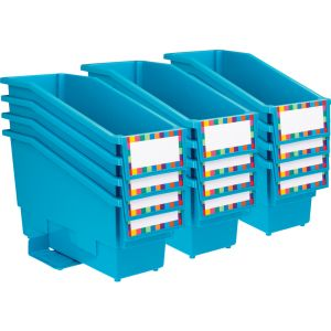 Durable Book and Binder Holder with Stabilizer Wing and Label Holder - Neon Blue