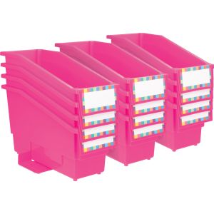 Durable Book and Binder Holder With Stabilizer Wings and Label Holder - Neon Pink