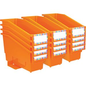 Durable Book and Binder Holder with Stabilizer Wing and Label Holder - Orange