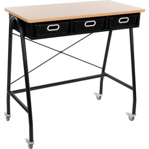 Teacher Standing Desk With Baskets - Black