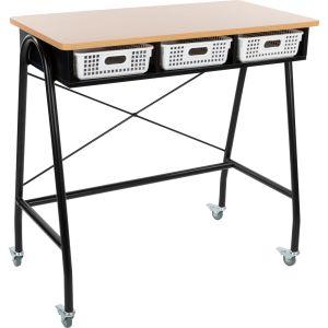 Teacher Standing Desk With Baskets - White