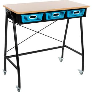 Teacher Standing Desk With Baskets - Neon Blue