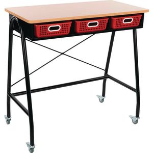 Teacher Standing Desk With Baskets - Red