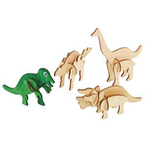 Colorations® DYO Craft - 3D Wooden Dinosaur Puzzles, Set of 4 Designs