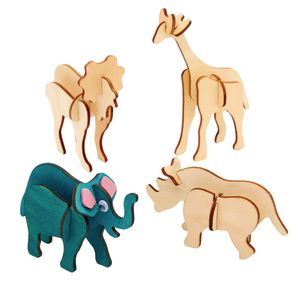 Colorations® Decorate Your Own 3-D Wooden Jungle Animal Puzzles, Set of 4 Designs