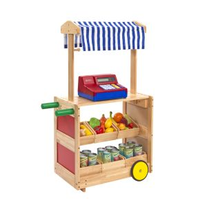 Excellerations Mobile Market Stand with Trays and Canopy