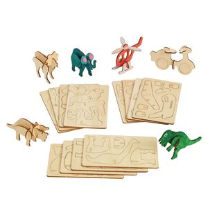 3D Wooden Dinosaur, Vehicle, and Jungle Puzzles