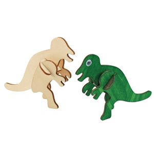 3D Wooden Dinosaur Puzzles With Watercolor and Brushes