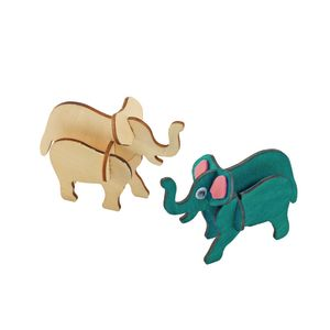 Colorations Decorate Your Own 3-D Wooden Jungle Animal Puzzles, Set of 4 Designs with Paint & Brushes