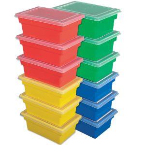 All-Purpose Bins & Lids, Set of 12 - Primary