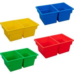 Two-Compartment All-Purpose Bin, Set of 12 - Primary