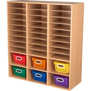 Oak 27-Slot Mail & Supplies Center With 6 Cubbies And Baskets - Primary Colors