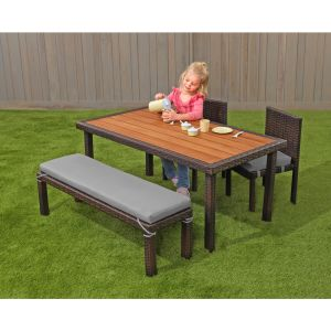 Excellerations® Outdoor Wicker Dining Set, 4-Piece Set with Table, Bench, and 2 Chairs