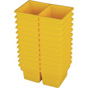Small Two-Compartment All-Purpose Bin - Yellow - Set of 12
