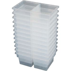 Small Two-Compartment All-Purpose Bin - Clear - Set of 12