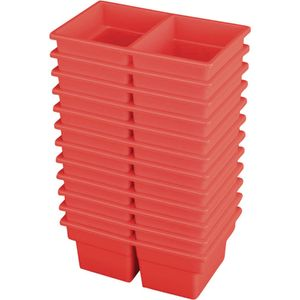 Small Two-Compartment All-Purpose Bin - Red - Set of 12