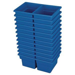 Small Two-Compartment All-Purpose Bin - Blue - Set of 12