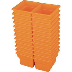 Small Two-Compartment All-Purpose Bin - Orange - Set of 12