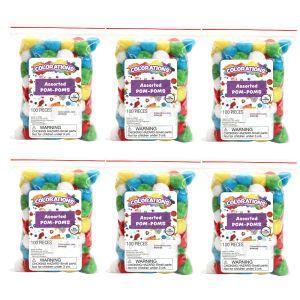 Colorations® POM POMS EA 100 PC, 6 Sets